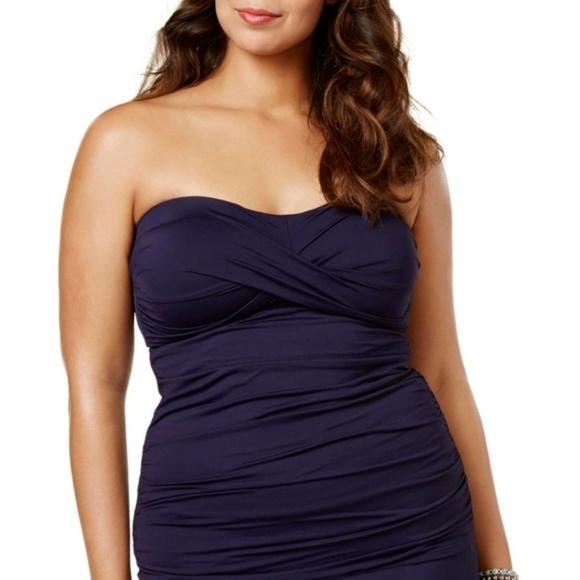 Anne Cole Other - Anne Cole Twist Front Shirred Bandeau Tankini 18W